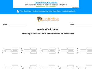 Reducing Fractions Part 1 Worksheet
