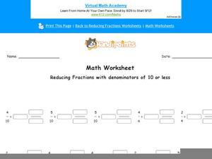 Reducing Fractions Part 5 Worksheet