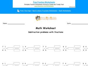 Subtracting Problems with Fractions Worksheet