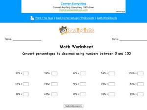 Converting Percentages to Decimals Part 1 Worksheet