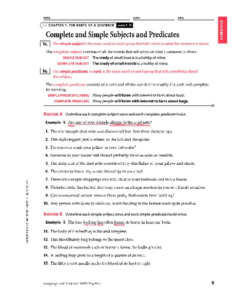 Complete And Simple Subjects And Predicates Worksheet For 6th - 8th Grade  Lesson Planet