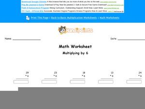 Multiplying by 6 Part 6 Worksheet