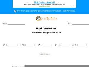 Horizontal Multiplication by 4 Part 2 Worksheet