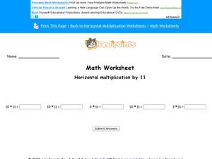 Horizontal Multiplication by Eleven Worksheet
