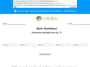 Horizontal Multiplication of 11 Worksheet