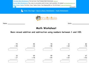 Add and Subtract: Numbers 1-100  Worksheet 2 Worksheet