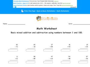 Add and Subtract Numbers 1-100: Worksheet 3 Worksheet