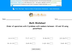 Order of Operations With 3 Problems With Numbers Between -10 and 10 Using Parenthesis Worksheet