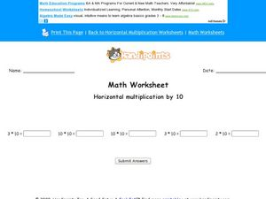 Horizontal Multiplication by 10: Worksheet 2 Worksheet