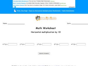 Horizontal Multiplication by 10: Worksheet 5 Worksheet