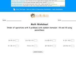 Order of Operations Part 5 Worksheet