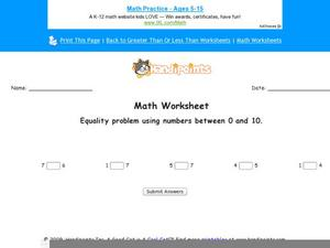 Equality Problem Using Numbers Between 0 and 10: Part 5 Worksheet