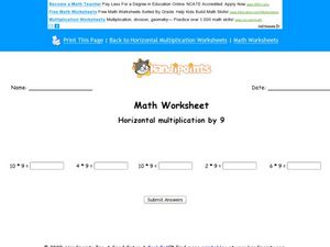 Math Worksheet: Horizontal Multiplication  by 9 Worksheet