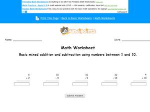 Mixed Addition and Subtractions: Numbers 1-10 Worksheet