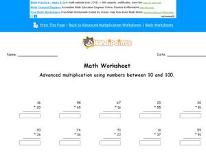 Math Worksheet:  Advanced Multiplication Using Numbers Between 10 and 100, #3 Worksheet