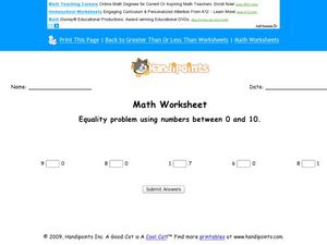 Equality Problems Using Numbers Between 0 and 10 Worksheet