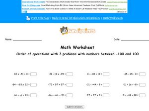 Order of Operations - Three Problems - Numbers Between -100 and 100 Worksheet