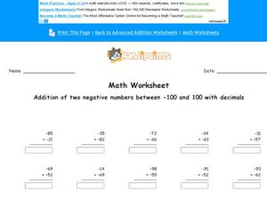 Addition of Two Negative Numbers Between 0 and 100 With Decimals Worksheet