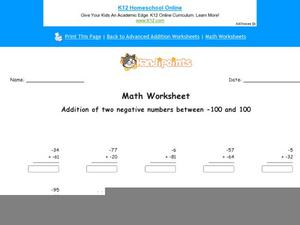 Addition of Negative Numbers Worksheet