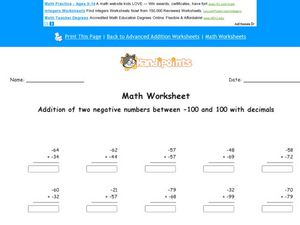 Addition of Two Negative Numbers Between -100 and 100 With Decimals Worksheet