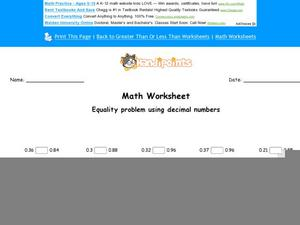 Equality Problem Using Decimal Numbers: Part 5 Worksheet
