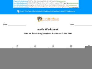 Odd or Even Using Numbers Between 0 and 100 Worksheet