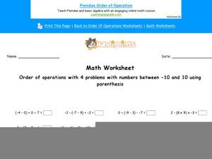 Order of Operations with 4 numbers in the Equation Using Numbers between -10 and 10 Worksheet