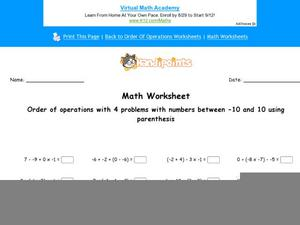 Order of Operations Using 4 Numbered Equations: Part 8 Worksheet