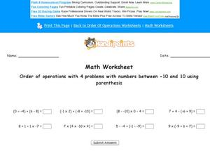 Ordering Operations With Four Problems Worksheet