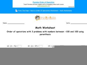 Order of Operations With Three Numbers Worksheet