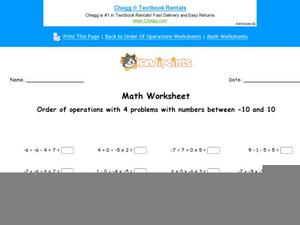 Order of Operations with 4-Number Equations: Part 1 Worksheet