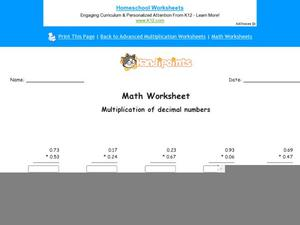 Multiplication of Decimal Numbers: Part 9 Worksheet