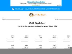 Subtracting Decimal Numbers Between 0 and 100: Part 8 Worksheet