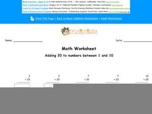 Adding 20 to Numbers Between 1 and 10 Worksheet