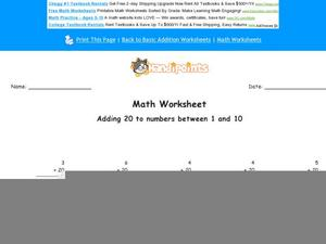 Adding 20 to Numbers Between 1 and 10: Part 10 Worksheet