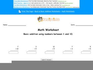 Basic Addition Using Numbers 1 and 10 Worksheet