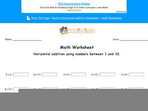 Horizontal Addition Using Numbers Between 1 and 10: Part 9 Worksheet