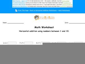 Horizontal Addition Using Numbers Between 1 and 10: Part 10 Worksheet