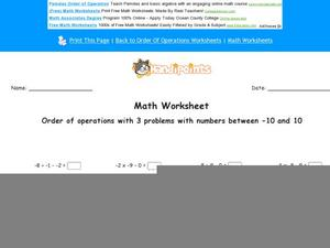 Order of Operations with 3 Problems with Numbers Between -10 and 10: Part 3 Worksheet