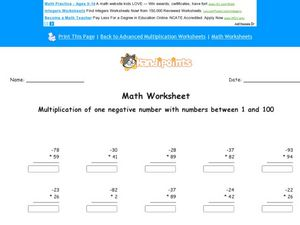 Math Worksheet: Multiplying with 1 Negative Number Worksheet