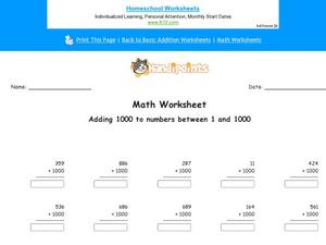 Adding 1000 to Numbers 1 and 1000 Worksheet