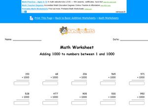 Math Worksheet:  Adding 1000, #2 Worksheet