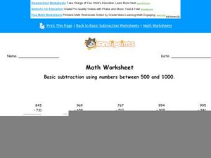 Basic Subtraction Using Numbers Between 500 and 1000:Part 7 Worksheet