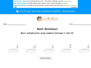 Math Worksheet: Basic Multiplication #2 Worksheet