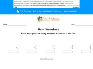 Math Worksheet: Basic Multiplication #3 Worksheet