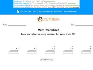 Basic Multiplication Using Numbers Between 1 and 10: Part 6 Worksheet