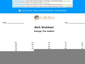 Average Five Numbers: Part 8 Worksheet