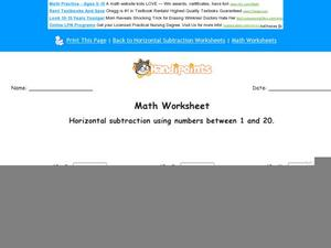 Horizontal Subtraction Using Numbers Between 1 and 20: Part 9 Worksheet