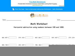 Horizontal Subtraction Using Numbers Between 100 and 1000: Part 2 Worksheet