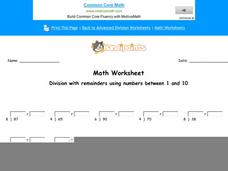 Division with Remainders Using Numbers Between 1 and 10: Part 4 Worksheet